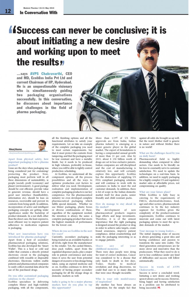 Article AVPS Chakravarthi in Modern-Pharma